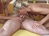 Naked blonde girl involved into family threesome