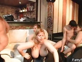 bbw in party Plump group bar the sex