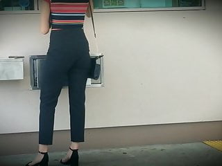 Candid Sexy Ass in Tight Black Pants and VPL High Heels