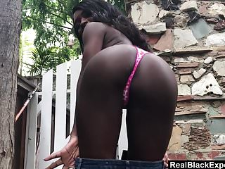 point of view Ebony strips and banged outside