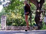 Walking in 6 inch platform heels