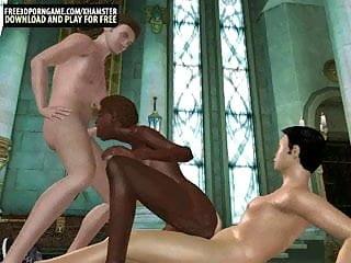 Cartoon black babe taking two white dicks...