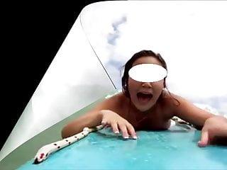 My wife's bikini fell off while she was swimming.