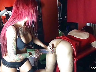 German Femdom Domina Pound Slave in his Ass with Monster Toy