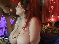 Fisted and cum in her mouth for his dutiful busty wife