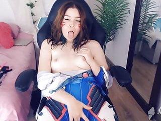 Hot D.Va Cosplay camgirl strips and masturbates live on cam!