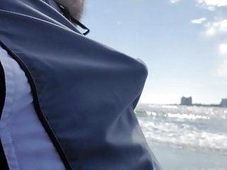 On public beach bear...