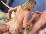 Horny skank getting double penetrated by two studs