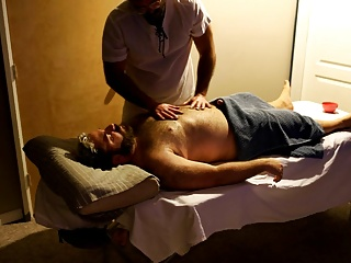 Rugby player gets hard during his massage