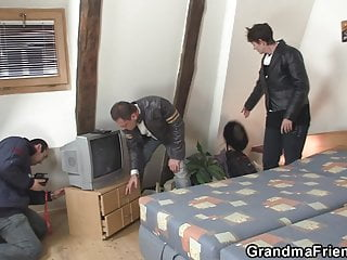 Filming hardcore orgy sex orgy with frail grandma