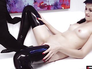 Latex boots babe master...