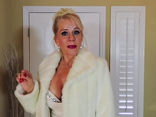 Nonnude Erotic Blonde Busty Old mommy white gown excessive heels