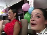 Stripper party in the hair salon