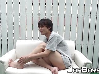 Japanese twink bends over for the cam and...