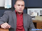 Office hunk analized in trio with sexswing
