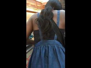 denim fixing Ebony hair skirt ass under