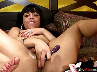 Feminine ebony tgirl reveals and black bubble ass...