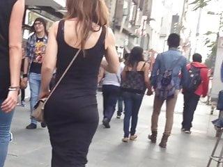 Erotic blonde in firm costume, good mega big ass