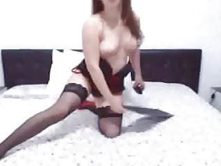 With big tits masturbates her hard dick...