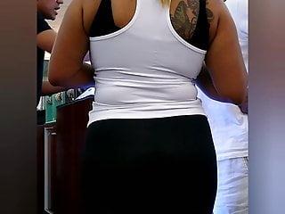 Chubby Dominican milf leggings big ass