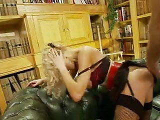 British sluts get fucked in a FFM threesome in the library