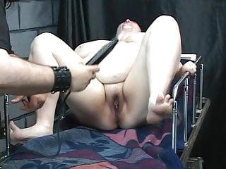 Knife and clamp play torture the nips of...