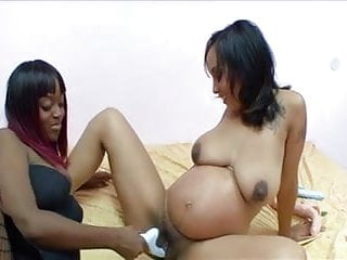 Pregnant brunette plays lesbian games with ebony usb...