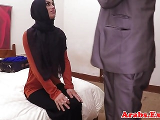 Hijab Arab babe enjoys money for intercourse point of view