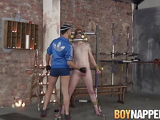 Red head submissive restrained for cruel handjob