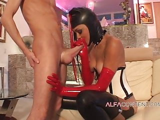 Latex chick gets long...