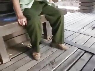 Asian Grandpa Shoots A Big Load