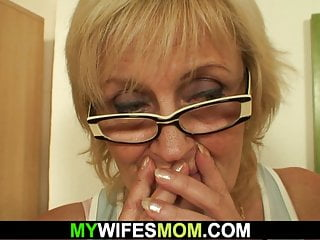 Step Son in law fucks old girlfriends mother on the table
