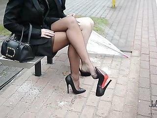 2 busstop 14cm high heels upskirt amp stockings...