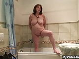 Busty not mother inlaw rides his cock after shower