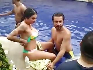 punjabi pool occasion with a topless foreigner whore
