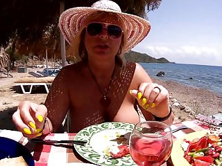 Beach restaurant with nude tits...