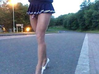Public road walk in Japanese school skirt .