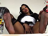 Ebony Teacher Squirting in RHT stockings and Loubotin Shoes