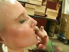 tattooed bald bitch fucked and gave sexy blowjob