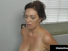 big titty housewife charlee chase kneels & sucks boss' cock!free full porn