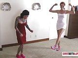 Tall redhead and a tattooed brunette play a strip memory gam