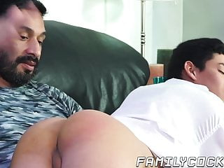 Naughty daddy spanking and doggystyle banging adorable twink...