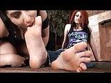 lesbian lick big size feet