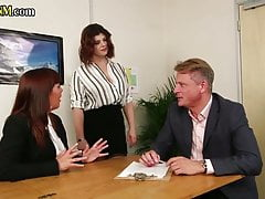 Cockhungry CFNM babes blowing subject in the office