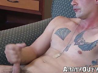 Solo Latin soldier Dominic Chavez strokes his big cock