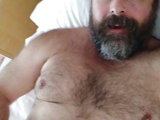 Hairy bearded bear cums