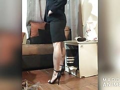 modeling candid calves high heell sandals and bussines skirt