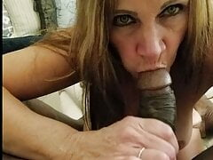 Cougar sucking our dicks taking turns with black friend