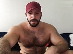Beard muscle daddy wanks off  and cums