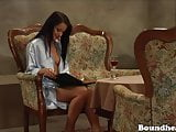 Sweet mistress plays with her slave while studying
